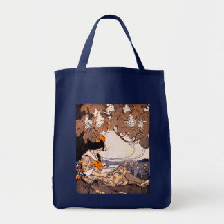 Vintage Girl Reading Under a Tree Canvas Bags
