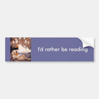 Vintage Girl Reading Under a Tree Bumper Stickers