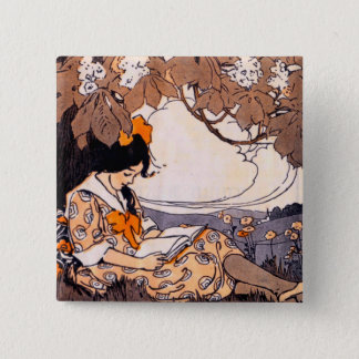 Vintage Girl Reading Under a Tree Button