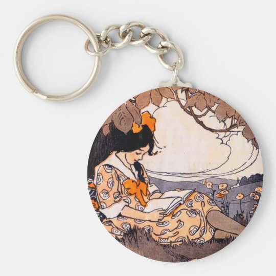 Vintage Girl Reading Under a Tree Keychain