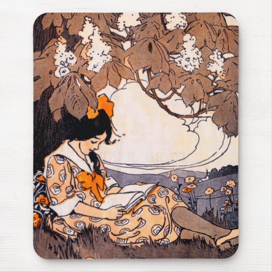 Vintage Girl Reading Under a Tree Mouse Pad