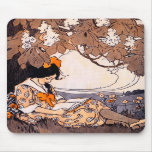 Vintage Girl Reading Under a Tree Mousepads