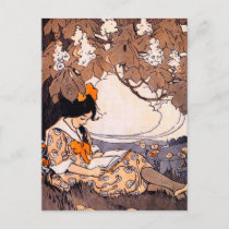 Vintage Girl Reading Under a Tree Postcard
