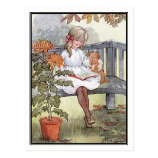 Vintage Girl Reading With Dog by Anne Anderson Postcard