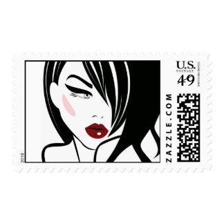 Vintage girl red lips postage stamps