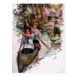 Vintage Girl Scout Campers Canoeing Postcard