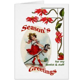 Vintage Girl Seasons Greetings Dentist & Staff Card