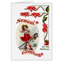 Vintage Girl Seasons Greetings for Mailman Card