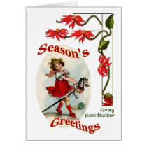 Vintage Girl Seasons Greetings for Piano Teacher Card