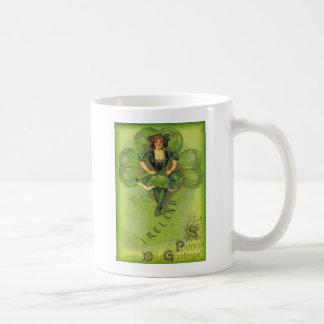 Vintage Girl Shamrock Ireland St Patrick's Day Car Classic White Coffee Mug