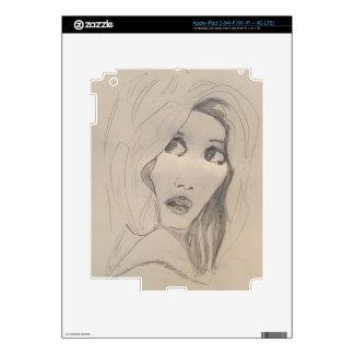 vintage girl sketch iPad skin