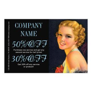 vintage girl SPA beauty hair salon makeup artist Flyer