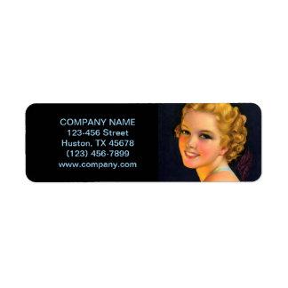 vintage girl SPA beauty hair salon makeup artist Return Address Label