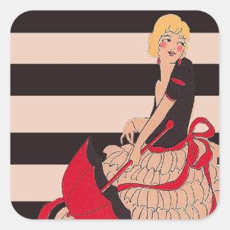 Vintage Girl Square Sticker