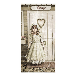 Vintage Girl standing near a Retro Cottage Photo Greeting Card