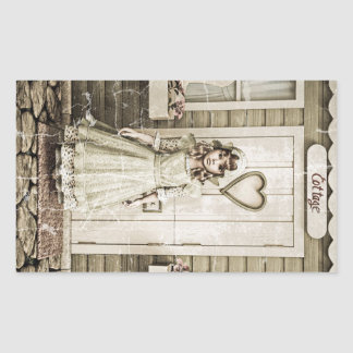 Vintage Girl standing near a Retro Cottage Rectangle Stickers
