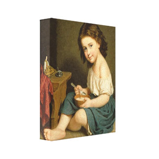 Vintage Girl Suppertime 1866 Art Wrapped Canvas 3D