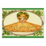 Vintage girl surprise pop up in Christmas pie Greeting Card