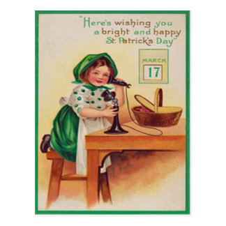 Vintage Girl Telephone St Patrick's Day Card Postcard