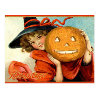 Vintage Girl Witch Pumpkin Halloween Postcard
