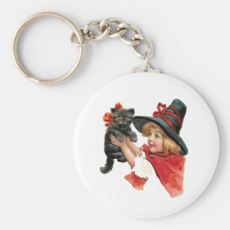 Vintage Girl Witch with Kitten Key Chain