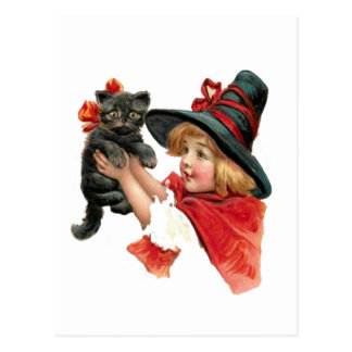 Vintage Girl Witch with Kitten Postcard
