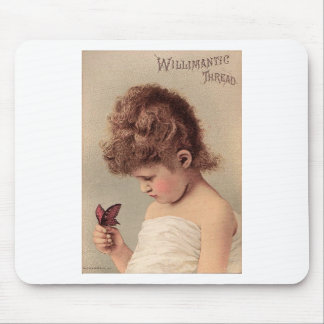 Vintage Girl with a Butterfly Mouse Pad