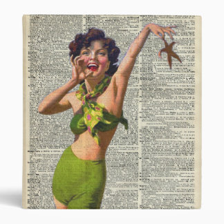 Vintage Girl with a starfish Vinyl Binders