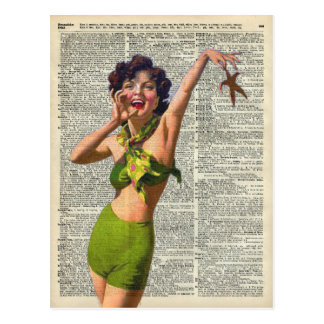 Vintage Girl with a starfish Postcard
