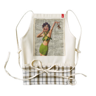 Vintage Girl with a starfish Zazzle HEART Apron