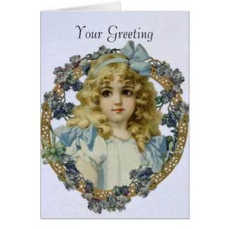 Vintage Girl with Beautiful Flowers and Bow Cards