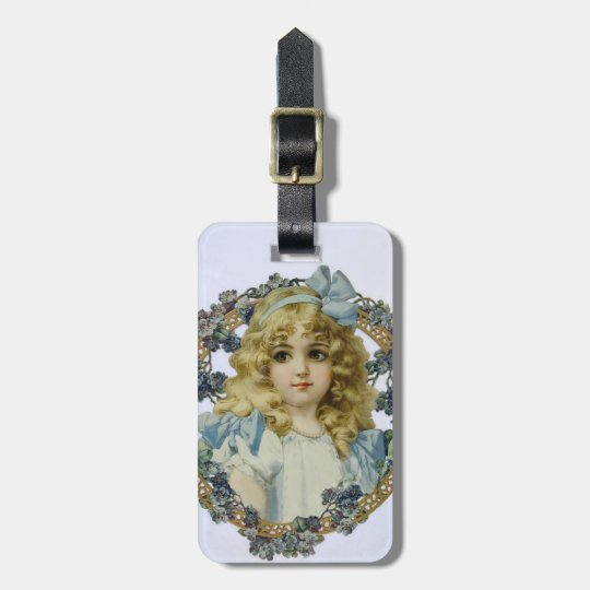 Vintage Girl with Beautiful Flowers and Bow Luggage Tag