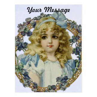 Vintage Girl with Beautiful Flowers and Bow Postcard