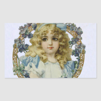 Vintage Girl with Beautiful Flowers and Bow Rectangular Sticker