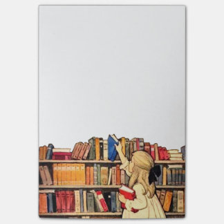 Vintage Girl with Bookshelf Post-it Notes 4 x 6