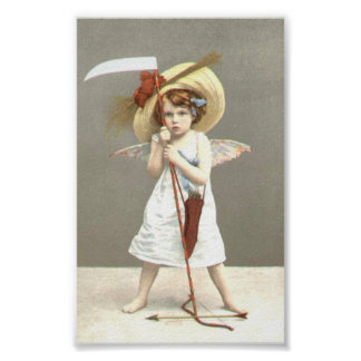 Vintage Girl with Bow Arrows Art Print