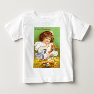 Vintage Girl With Bunny & Easter Eggs Easter Card T Shirt