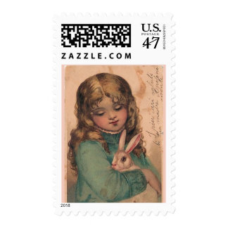 Vintage Girl With Bunny Easter Postage