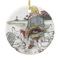 Vintage Girl With Chickens, E is an Egg Ceramic Ornament