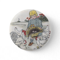 Vintage Girl With Chickens, E is an Egg Pinback Button