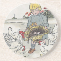 Vintage Girl With Chickens, E is an Egg Sandstone Coaster