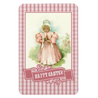 Vintage Girl with Chickens. Easter Gift Magnet Vinyl Magnet