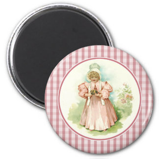 Vintage Girl with Chicks. Easter Gift Magnets