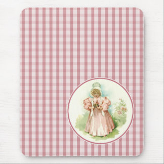 Vintage Girl with Chicks. Easter Gift Mousepads