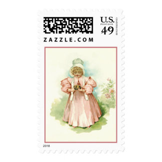 Vintage Girl with Chicks. Easter Postage Stamps
