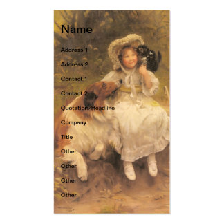 Vintage Girl With Collie and Kitten Business Card