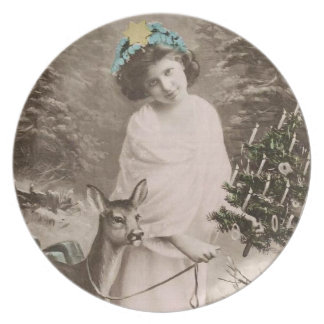 Vintage girl with deer melamine plate