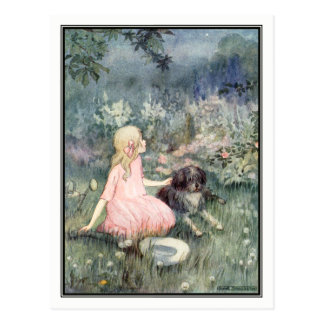 Vintage Girl with Dog by Anne Anderson Postcard