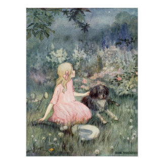 Vintage Girl with Dog by Anne Anderson Poster