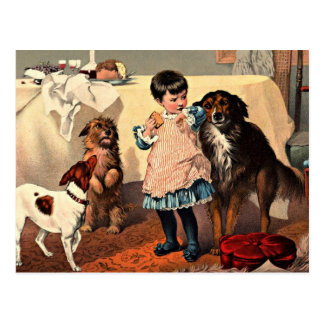 Vintage Girl With Dogs Postcard